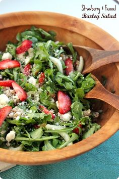 Strawberry & Fennel Barley Salad recipe. Easy & nutritious!  #spon @castrawberries