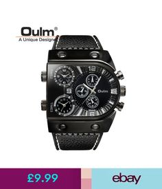 Wristwatches Oulm Men Big Dial Watch Multiple Time Zone Military Leather Band Wristwatch #ebay #Fashion