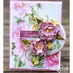 Circle of Breathtaking Blooms - created w/ the Sweet Peony Collection from Heartfelt Creations Vintage Wedding Cards, Wedding Cards Handmade, Flower Cards, Paper Flowers, Heartfelt Creations Cards, Quilling Designs, Paper Cards, I Card, Card Kit