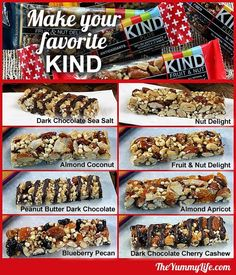 Homemade KIND Bars Copycat recipes for 8 popular varieties of these high protein, energy, & nutritional nut bars. because kind bars are so damn expensive Diy Protein Bars, Healthy Bars, Healthy Treats, Protein Energy, Energy Bars, High Protein Granola Bar Recipe, Healthy Granola Bars, Muesli Bars, Power Bars