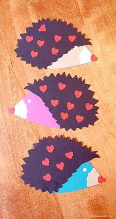 Make handmade Valentines Day cards   Hedgehog DIY Valentine cards   Bright Bold and Beautiful