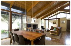 lots of wood, glass, and open design with vaulted ceiling