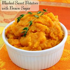 Delicious and tasty Mashed Sweet Potatoes with Brown Sugar for your Thanksgiving table!  Sweet and buttery, light and fluffy.  Sure to be a hit!