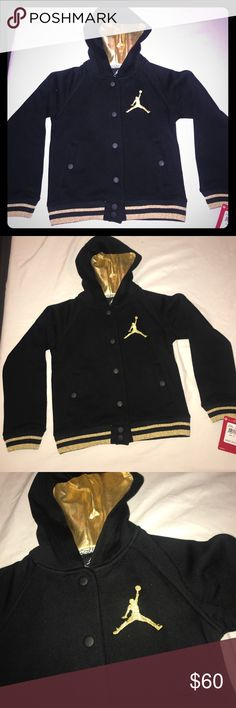 Boys Jordan Letterman jacket New with tags, size 6X, black and gold, letterman jacket style hoodie, buttons snap up Jordan Jackets & Coats