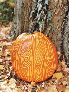 How to carve a faux bois pumpkin.