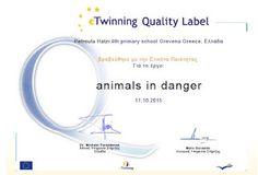 2ο Βραβείο στο 4ο Δ.Σ. Γρεβενών για το etwinning έργο μας animals in danger (=ζώα υπό εξαφάνιση)