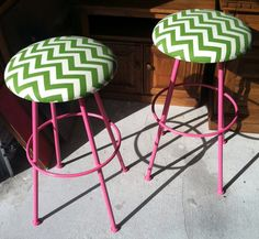 Funky Pink and Green Stools - Perfect for Lilly Pullitzer inspired home, store, bar 75.00 ea plus shipping