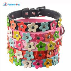 Fashion 6 Colors 4 Sizes Leather Puppy Pet Dog Collar Cat Neck Strap Necklace with Studded(China (Mainland)) Puppy Collars, Leather Dog Collars, Cat Collars, Pu Leather, Pet Breeds, Pet Accessories, Collar Necklace, Flower Patterns, Flower Designs