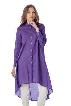 Camasa din bumbac mov, lungime asimetrica. Serie de marimi 36-44. Rain Jacket, Windbreaker, Tunic Tops, Jackets, Women, Fashion, Raincoat, Down Jackets, Moda