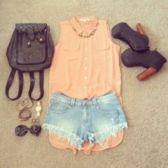 peach blouse with short denim shorts and brown. #summer #pastels