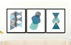 Descargar tríptico geométrico azul Triptico Set de 3