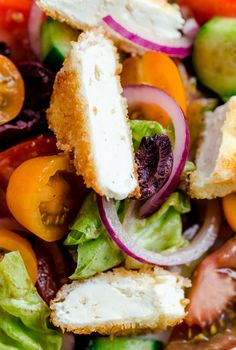 Greek Salad with Crispy Feta. A delicious and unexpected twist on a classic!