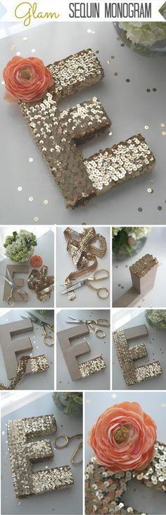 DIY Sequin Monogram Letter