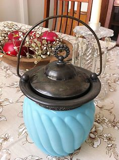 Antique English Biscuit Jar Silver Plate Victorian Turquoise Milk Glass 1880'S | eBay