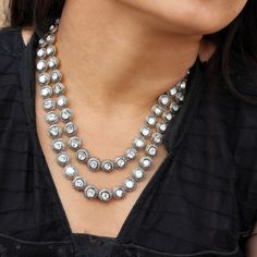 14k Yellow Gold Natural Rose Cut Polki Diamond Earrings Necklace Set .925 Silver #Handmade