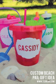 Personalized Beach Pail made with the Silhouette from seven thirty three #GiftIdea