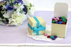 25x, 2'' Cube Wedding Bridal Baby Shower Party Favors, Gift Boxes, Ivory, 2x2x2