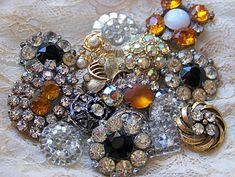 Vintage buttons ... don't we all need a little bling in our lives!!