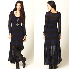 Free Preople High-Low Sweater Maxi Dress EUC. (Excellent Used Condition) no flaws. High low hem, full length sleeves, Strachey sweater knit body.  Blue and black striped. Free People Dresses Maxi