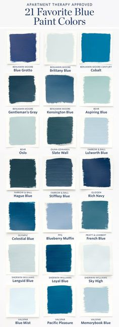 Color Cheat Sheet: The 21 Most Perfect Blue Paint Colors For Your Home — The M. Color Cheat Sheet: The 21 Most Perfect Blue Paint Colors For Your Home — The Modern Palette Best Blue Paint Colors, Paint Colors For Home, House Colors, Color Blue, Blue Green, Modern Paint Colors, Paint Colours, Blue Wall Colors, Wall Painting Colors