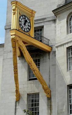 Golden Clock on Leeds Civic Hall, West Yorkshire, England