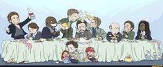 Family Dinner. Left to right: Balthazar, Naomi, Uriel, Lucifer, Chuck, Michael, Zachariah, Gabriel, Raphael. Bottom row: Anna, Castiel, Samandriel
