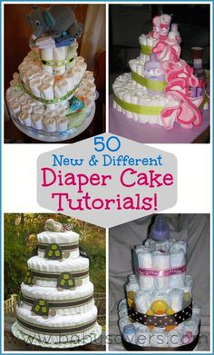 Learn how to make a diaper cake today with 50 different diaper cake tutorials all in one place!