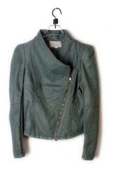 Perfect for Fall! Fashion Green Woman's Leather Jacket #fall #fashion #green #leather #jacket