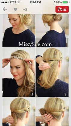 Hair With Headband Great Gatsby Hairstyles, Ball Hairstyles, Headband Hairstyles, Vintage Hairstyles, Flapper Hairstyles, Wedding Hairstyles, Great Gatsby Makeup, Estilo Gatsby, Medium Hair Styles