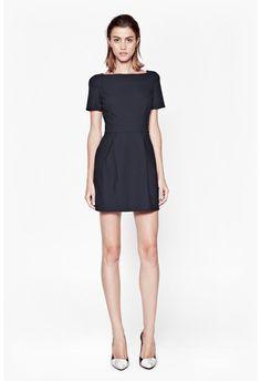 Micro Dotty Slash Neck Dress