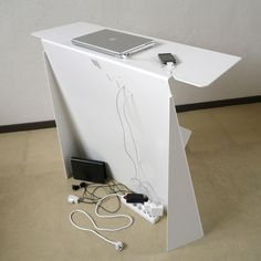 Sheet Metal Desk: Just enough space and hides all those cords!