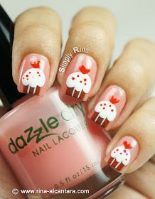 Cupcakes for Valentine's Nail Art Design on Dazzle Dry Pedal to the Metal