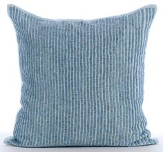 Decorative Throw Pillow Covers Couch Sofa Pillow Toss Pillow 18x18 Inches Blue Linen Bead Embroidered Pillow Cover Home Living Misty Blue by TheHomeCentric on Etsy. Click Here to Buy this Now