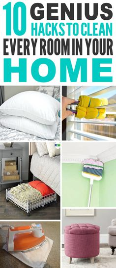 These are the BEST home cleaning hacks I've ever seen! Glad to have found these amazing home, rooms and kitchen cleaning hacks and tricks. Pinning for sure. #cleaning  #cleaningtips