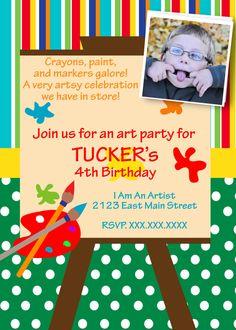 Art Birthday Printable Invitation. $10.00, via Etsy.