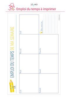 emploi du temps vierge gratuit a imprimer pour enfant diy papier pinterest. Black Bedroom Furniture Sets. Home Design Ideas