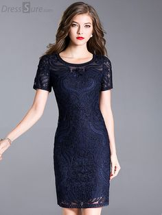 Buy Elegant O-Neck Short Sleeve Embroidery Bodycon Dress with High Quality  and Lovely Service c89635a0fe7a