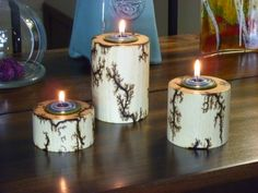 Cylnder Tea Light Set by FrillsElectricWood on Etsy