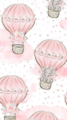 Elephants are going up in the hot air balloons Cute Wallpapers, Wallpaper Backgrounds, Iphone Wallpaper, Cute Elephant, Pink Elephant, Baby Scrapbook, Scrapbook Paper, Image Deco, Background S