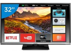 "Smart TV LED 32"" Panasonic TC-32DS600B - Conversor Digital Wi-Fi 2 HDMI 1 USB"