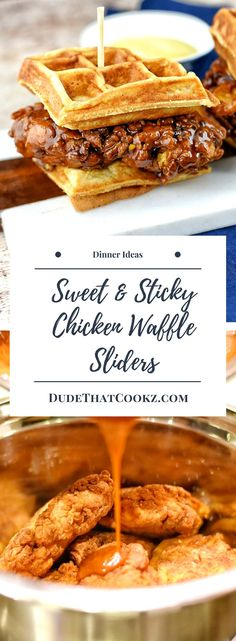 4 Points About Vintage And Standard Elizabethan Cooking Recipes! Teaming Sweet And Sticky Honey Sauce Together With Chicken And Waffles To Create My Sweet And Sticky Chicken Waffle Sliders Is Fun Food At Its Best. Waffle Recipes, Baby Food Recipes, Cooking Recipes, Cooking Stuff, Sandwich Recipes, Steak Recipes, Good Food, Yummy Food, Fun Food