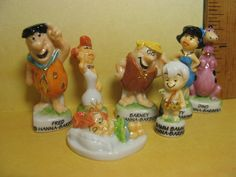 The FLINTSTONES Fred Barney Wilma Betty 7 pcs Cartoon TV  - French Feve Feves Porcelain Figurine Miniature Z90 by ValueARTifacts on Etsy