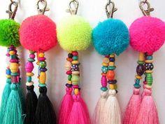 Luisa Tassle Keychain Pom Pom Tassel Keychain Tassel Zipper Pull BOHO Chic Bag Charm Big Beach Bag Summer Festival Gifts for Her - Pom Pom Beaded Long Keychain Tassel Keychain with by midgetgems - Pom Pom Crafts, Yarn Crafts, Diy And Crafts, Crafts For Kids, Tassle Keychain, Crochet Keychain, Yarn Projects, Pom Poms, Tassels