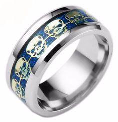 Mens Jewelry Never Fade Stainless Steel Skull Ring Gold Filled Blue Black Skeleton Pattern