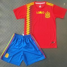 f71ef664c 2018 Spain World Cup Home Jersey Uniform Youth Red Blue Football National  Team Kits Shirt+short
