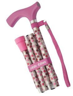 Luxury Pink Spotty Folding Walking Stick