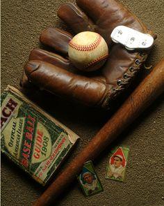 Vintage baseball stuff scattered around as decoration