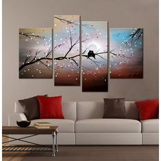 4 Piece Hand Painted Gallery Wrapped Canvas Art Love on The Branch Woman Cave Murs Turquoise, Backdrop Tv, Tree Wall Murals, Woman Cave, Photo Canvas, Large Wall Art, Home Interior, Interior Ideas, Decoration