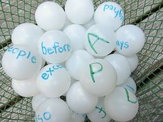Word Recognition #1 This is a great game to learn sight words.  Basically you just take cheap ping pong balls and write sight words and then have the students draw a ball and try to tell you what word is on the ball.  It is a great way to get the students involved in their learning!