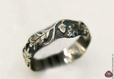 """Купить Серебряное кольцо с узорами """"Дубочек"""" - кольцо, кольцо из серебра, кольцо серебряное, украшение, серебро"""
